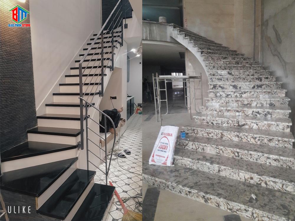 Hình ảnh công trình đá ốp hoa cương cầu thang